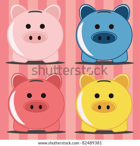 Piggy bank in four colors - stock vector