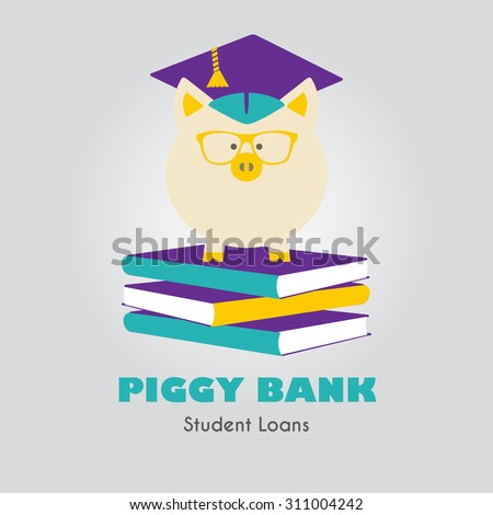 Piggy Bank in Graduate Hat standing on a book pile vector sign. Educational icon template. Student loan, financial aid, money saving plan for high education concept. Sample text. Layered, editable - stock vector