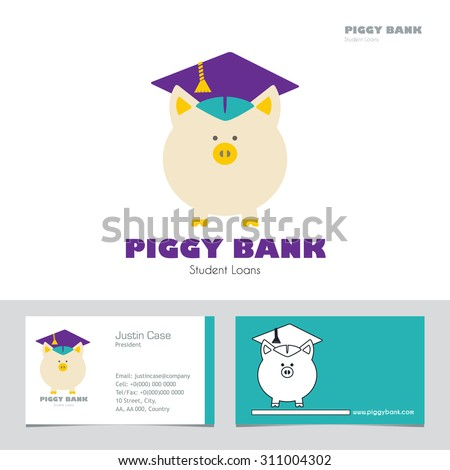 Piggy Bank in Graduate Hat vector sign & business card template in flat style. Educational icon template. Student loan, financial aid, money saving for education concept. Sample text Layered editable - stock vector