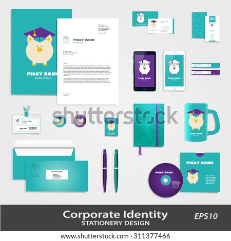 Piggy Bank in Graduate Hat vector sign & corporate identity set template. Educational icon template. Student loan, financial aid, money saving for high education concept. Sample text. Layered editable - stock vector