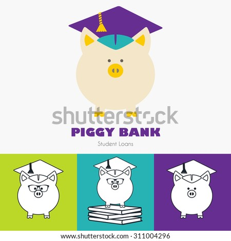 Piggy Bank in Graduate Hat vector sign in flat & linear style. Educational icon template set. Student loan, financial aid, money saving plan for high education concept. Sample text. Layered, editable - stock vector
