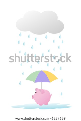 piggy bank in the rain - stock vector