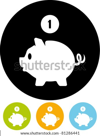 Piggy bank money – Vector icon - stock vector