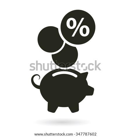 piggy bank percentage savings vector illustration - stock vector