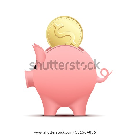 Piggy bank pig with a coin. Stock vector illustration.