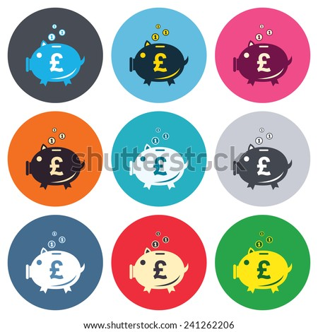 Piggy bank sign icon. Moneybox pound symbol. Colored round buttons. Flat design circle icons set. Vector - stock vector