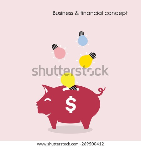 Piggy bank symbol with business and financial concept. Currency war concept. Vector illustration