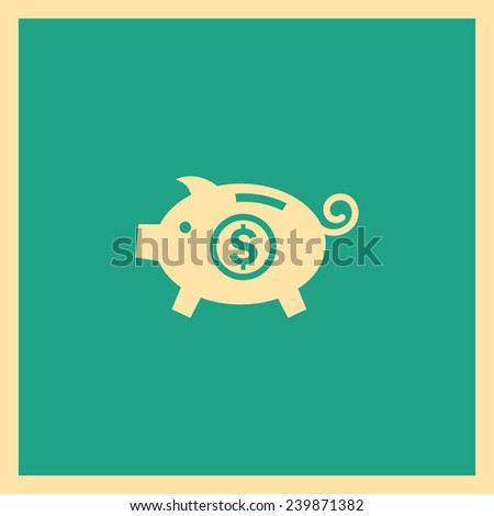 Piggy bank vector icon. Moneybox icon - stock vector