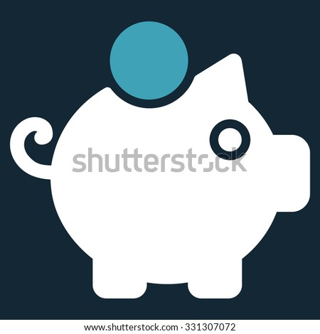 Piggy Bank vector icon. Style is flat bicolor blue and white symbol, rounded angles, dark blue background. - stock vector