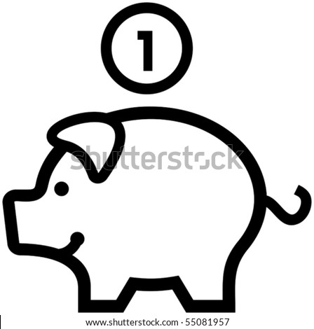 Piggy Bank - Vector illustration. Money and finance.