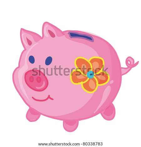 piggy bank with a flower