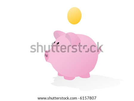 piggy bank with blank coin ready for your currency symbol - stock vector