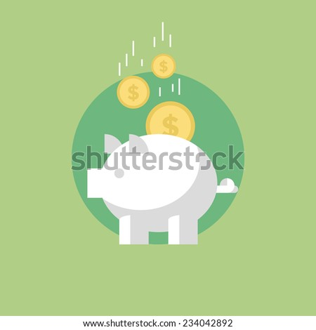 Piggy bank with coins, financial savings and banking economy, long-term deposit investment. Flat icon modern design style vector illustration concept. - stock vector