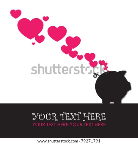 Piggy bank with hearts. Vector illustration. - stock vector