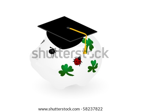 Piggy bank with the graduation hat - stock vector