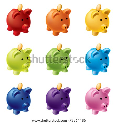 piggy banks in different colours - stock vector