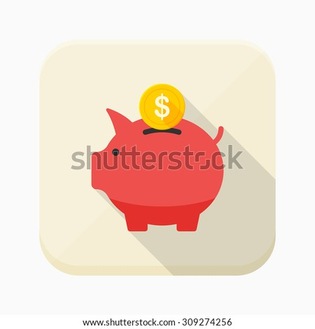 Piggybank icon, vector illustration. Flat design style with long shadow,eps10 - stock vector