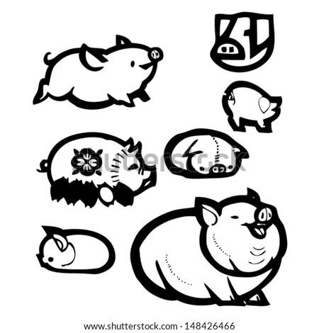 Pigs - stock vector