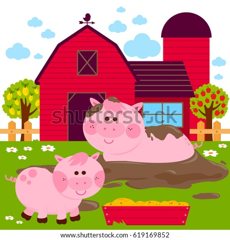 Pigs At The Farm Playing In A Mud Puddle