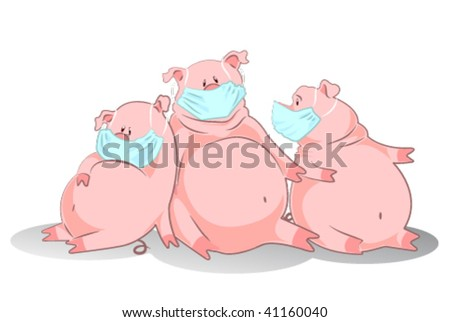 pigs in an air mask represent swine influenza or H1N1 vector - stock vector