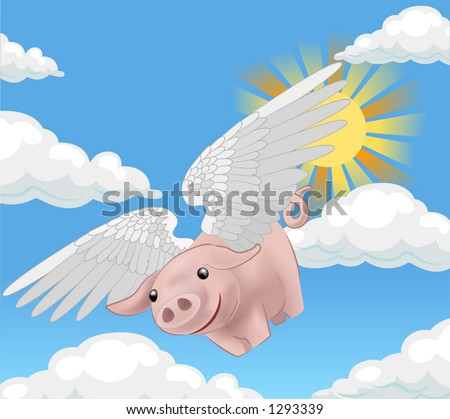 pigs might fly, a flying pig - stock vector