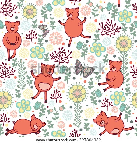 pigs on a meadow seamless pattern