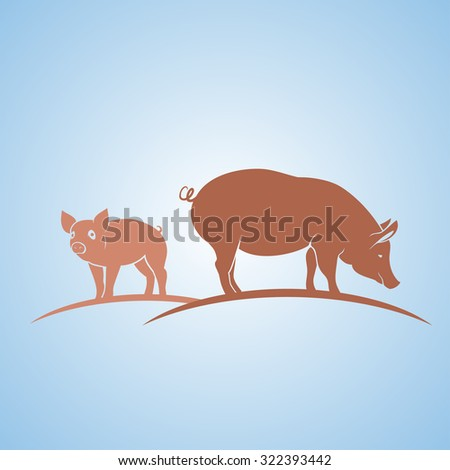 Pigs silhouette - stock vector