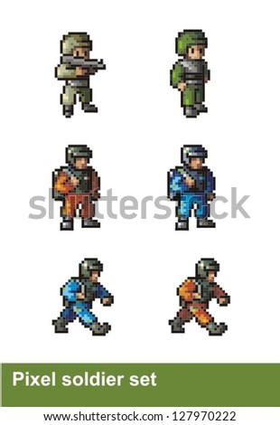 piksel art soldier set - stock vector