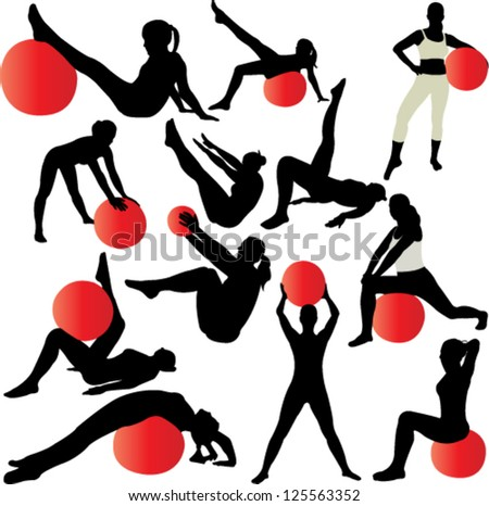 pilates women silhouettes - vector , - stock vector