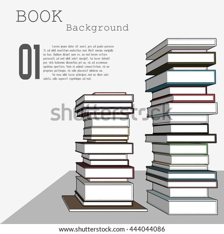 Pile of books background. Vector illustration. Books isolated on white.