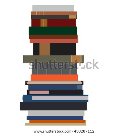 Pile of books vector isolated. Stack of books. Book spine. Literature - stock vector