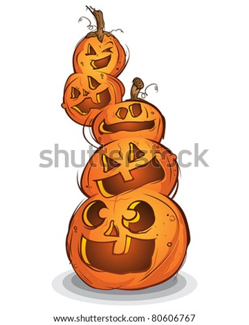 Pile of Carved Halloween Pumpkins Cartoon Characters - stock vector