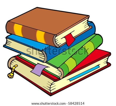 Pile of four old books - vector illustration. - stock vector