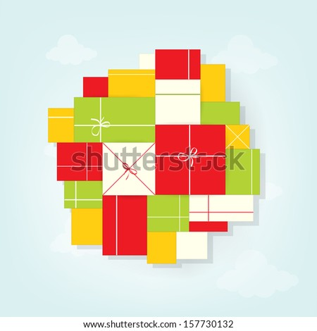 pile of gifts - stock vector
