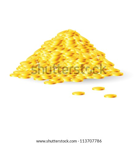 Pile of gold coins. Isolated on white background - stock vector