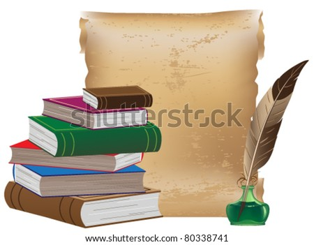 Pile of old books, ancient manuscript, inkwell and feather - stock vector