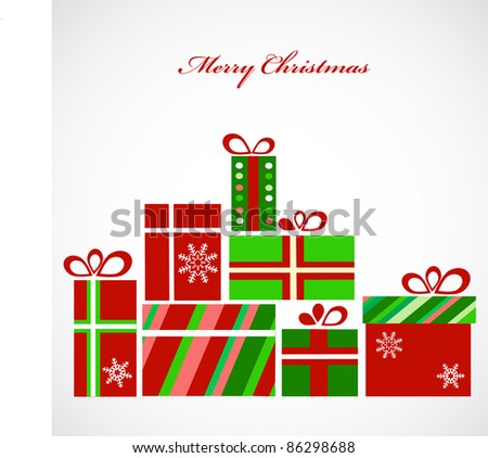 pile of presents for christmas - stock vector