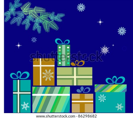 pile of presents for christmas on blue - stock vector