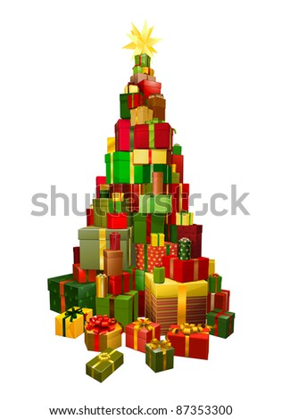Pile of presents or gifts stacked in the shape of a Christmas tree - stock vector