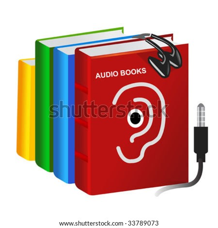 pile of vector audio books and a set of earphones - stock vector