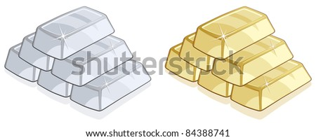 Piles of gold and silver bars isolated on white background - Vector - stock vector