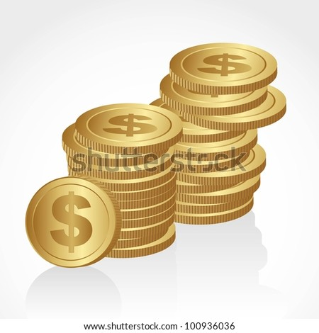 piles of golden coins isolated on white background - stock vector