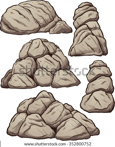 Piles of rocks. Vector clip art illustration with simple gradients. Each pile on a separate layer.  - stock vector
