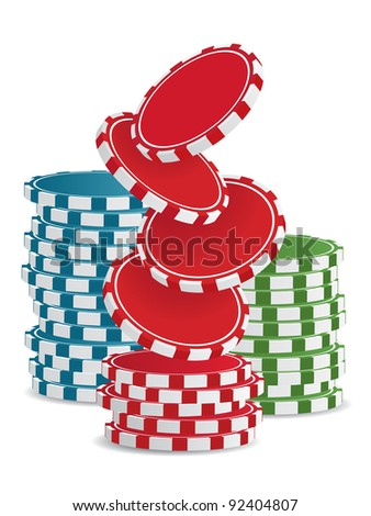 Piles of vector colorful casino chips isolated on white