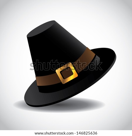 Pilgrim Hat. EPS10 vector, grouped for easy editing. No open shapes or paths. - stock vector