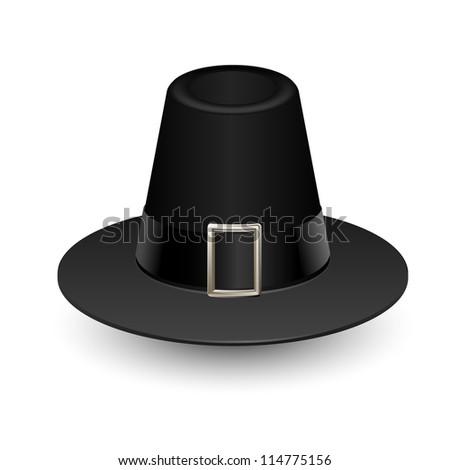 Pilgrim hat on white, Thanksgiving symbol, vector - stock vector