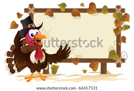 Pilgrim Turkey With A Signboard - stock vector