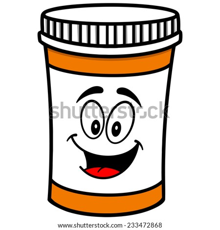 pill bottle mascot stock vector 233472868 shutterstock rh shutterstock com Prescription Bottle Cartoon medication bottle clip art