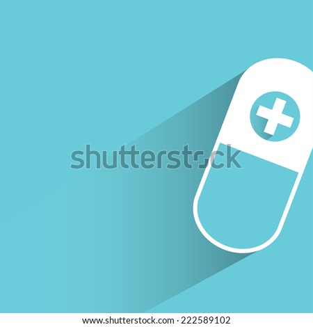 pill, capsule in blue background, flat and shadow design - stock vector