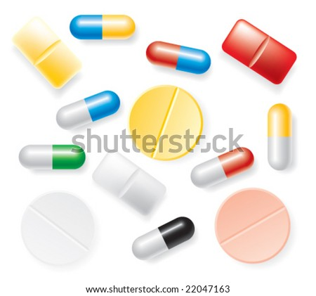 Pill collection set on a white background.